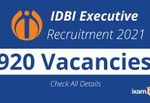 IDBI Executive Recruitment 2021