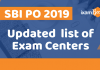 SBI PO Updated Exam Centres