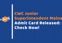 CWC Mains Admit Card Out