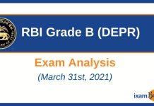 RBI Grade B DEPR Exam Analysis 2021