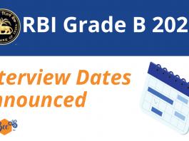 RBI Grade B Interview Dates 2021